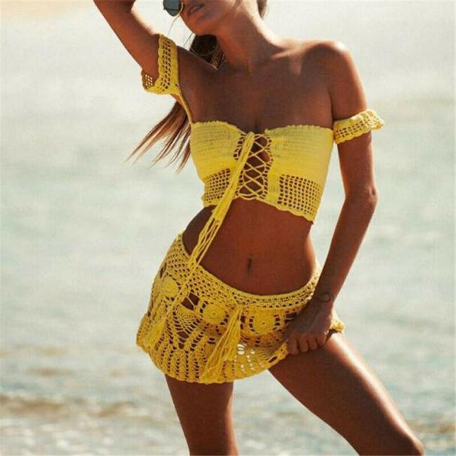 Women High Waist Swim Skirt Knit Hollow Out See Through Sexy Fashion Short Dress Bikini Bottom Swimwear