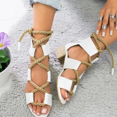 Women New Sandals Women High Heel Peep Toe Lace Up Sandals Shoes Summer Beach Boho Sexy Gladiator Sandals Shoes 2019
