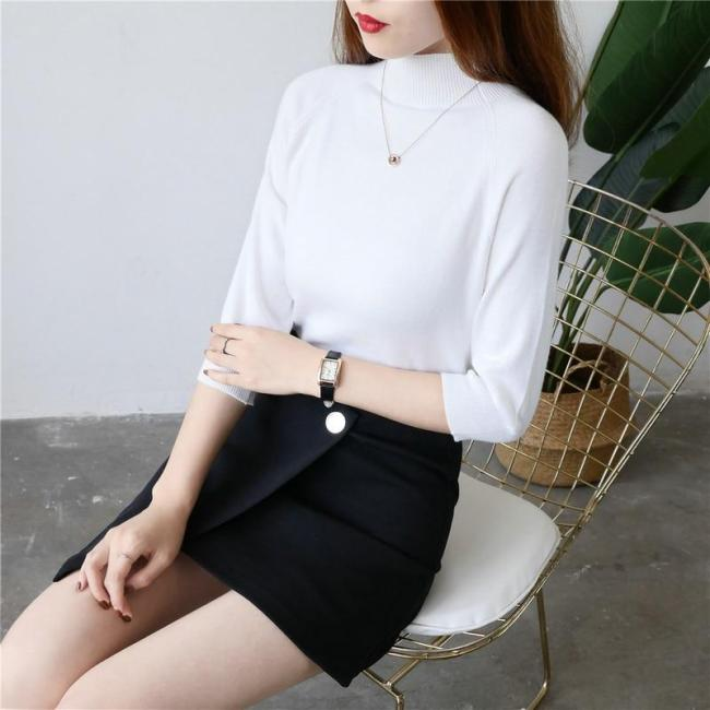 women spring sweater rabbit cashmere turtleneck half sleeves fashion elegant knitted pullover sweaters slim tops