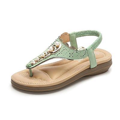 Summer shoes woman 2020 new fashion beaded women shoes clip toe sandals women solid color retro beach shoes plus size
