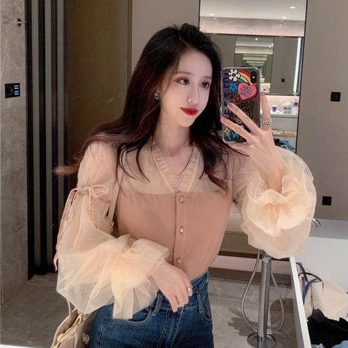Vintage Spring Autumn New V Neck Mesh Splicing Knitted Skinny Lantern Sleeve Blouses Women's Honey Set Fashion Streetwear 2020