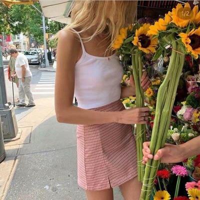 Foridol high waist plaid slit skirt women checkered chic streetwear black split cara skirt ladies pink mini skirt faldas 2020