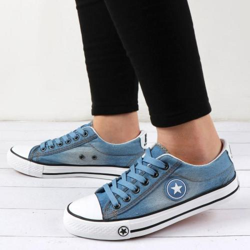 Denim Sneakers Women Vulcanize Shoes Canvas Casual Shoes Lace Up Ladies Sneakers Fashion Basket Femme Stars Tenis Feminino 2020