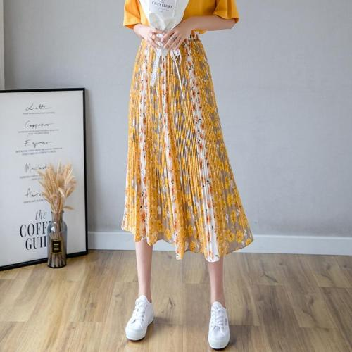 Summer Pleated Skirts Women High Elastic Waist Beach Boho Chiffon Skirt Vintage Loose Long Midi Skirts Elegant Harajuku W933