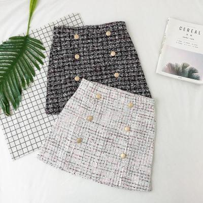 Button Winter Tweed Skirts Women Vintage Autumn Mini Pencil Skirts Wool Korean Bodycon High Waist Plaid Skirt Lady Slim Fit V923