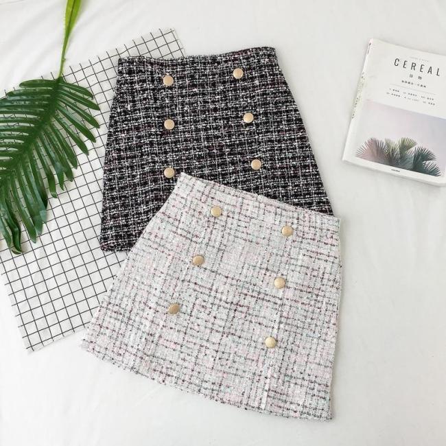 Button Winter Tweed Skirts Women Vintage Autumn Mini Pencil Skirts Wool Korean Bodycon High Waist Plaid Skirt Lady Slim Fit V923