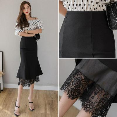 Womens Lace Pactwork Skirts 2020 High Waist Casual Spring Autumn Sexy Skirts Slim Office Lady Work Black Skirts Plus Size