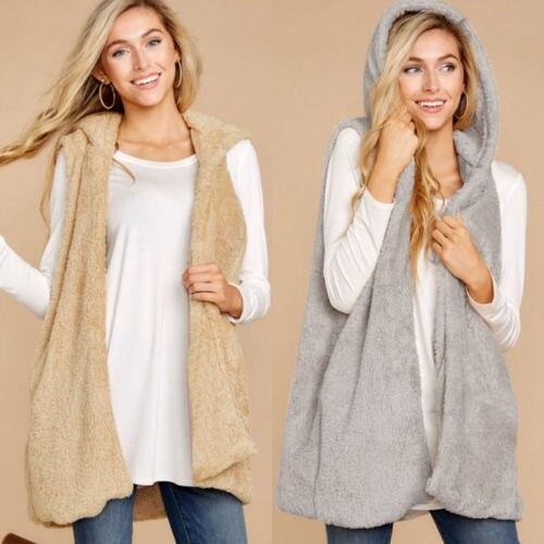 Retro Hot Womens Fleece Fur Jacket Vest Tops Autumn Winter Warm Hooded Fluffy Coat Casual Faux Fur Zip Up Outerwear New