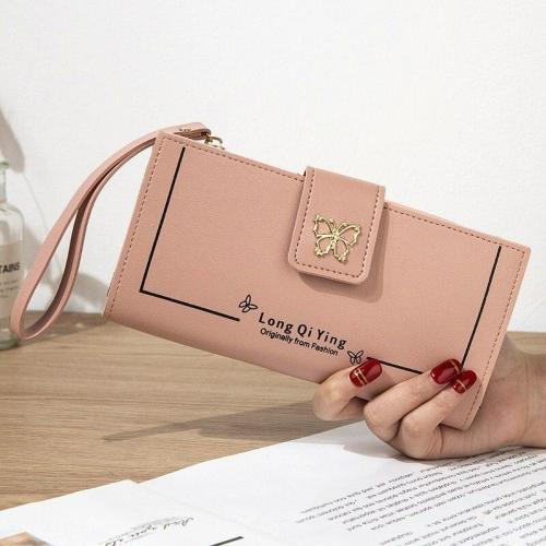 Ladies zipper buckle wallet new style PU leather solid color butterfly wristband Ladies wallet phone wallet long card bag