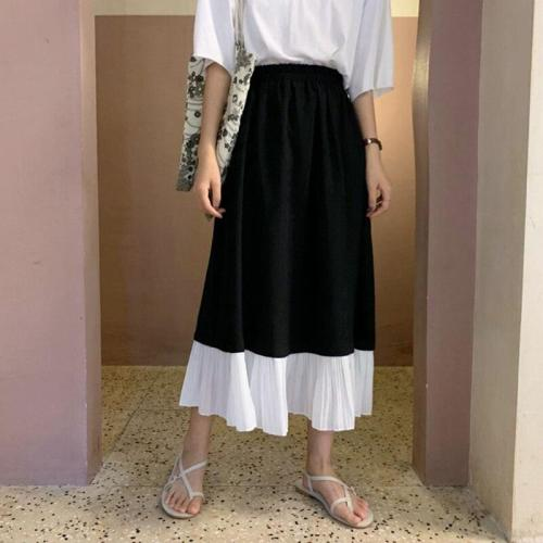 Black White Patchwork Chiffon Skirts Women Elastic Waist Pleated Skirt A-Line Vintage Elegant Summer Long Midi Skirts 2020 W924