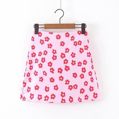 Flower print satin skirts for women summer autumn beach skirts female A line mini short skirt pink floral skirt faldas 2020