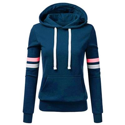 Woman hoodie Sweatshirts ladies women's hoodies Women Stripe Long Sleeve Blouse Hooded Pocket Pullover Tops Shirt D300721