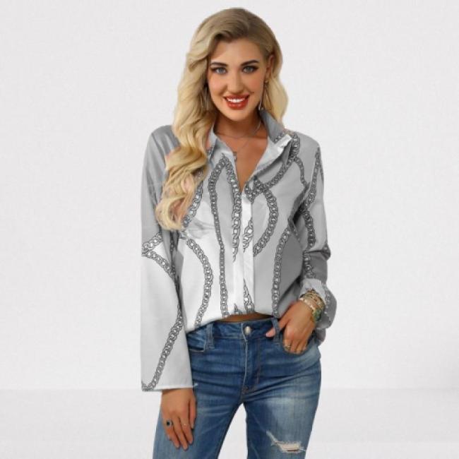 Plus Size 4xl 5xl 2020 Autumn Women Leisure Blouse Tops Chain Print Office Ladies Blouse Shirt Long Sleeve Blusas Mujer De Moda