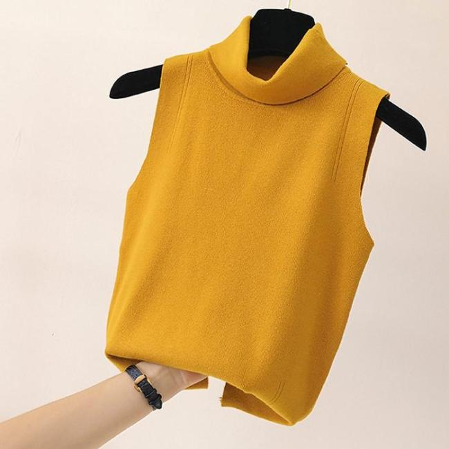 Autumn New Women Solid Turtleneck Sleeveless Knitted Basic Bottom Vest tops blusas Fashion Streetwear 2020