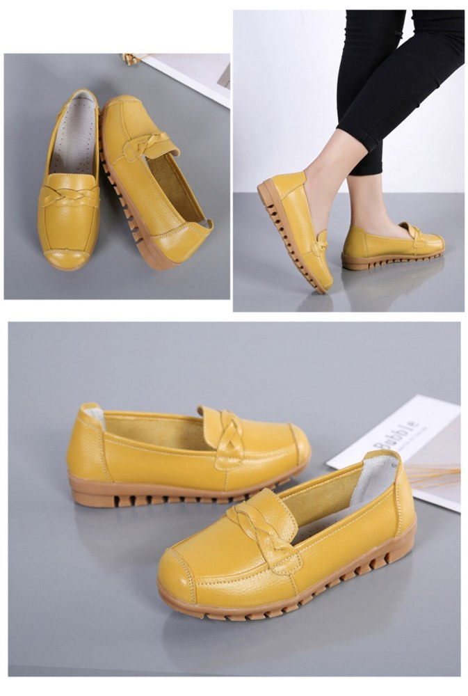 Women's Loafers Beautiful Solid Genuine Leather Shoes Woman Rubber Shallow Flat Shoes Non Slip Women Sewing