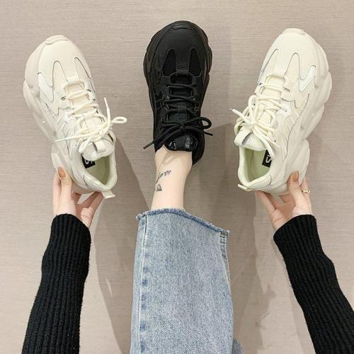 Women Platform Sneakers 2020 Dad Shoes Women Vulcanized Shoes Casual Chunky Sneakers Ladies Trainers Designer Black Beige