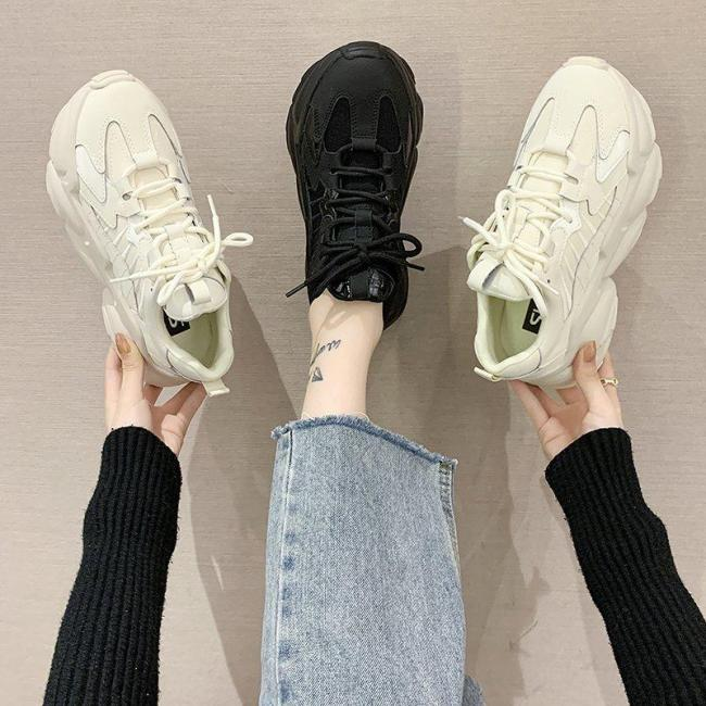 Women Platform Sneakers 2020 Dad Shoes Women Vulcanized Shoes Casual Chunky Sneakers Ladies Trainers Designer Black Beige
