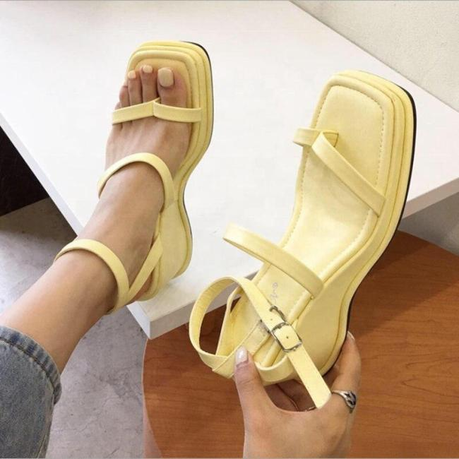 Solid Summer Slingback Women Wedge shoes Square Clip Toe Sandals For Ladies Light Weight Ankle Buckle Strap Women Shoes