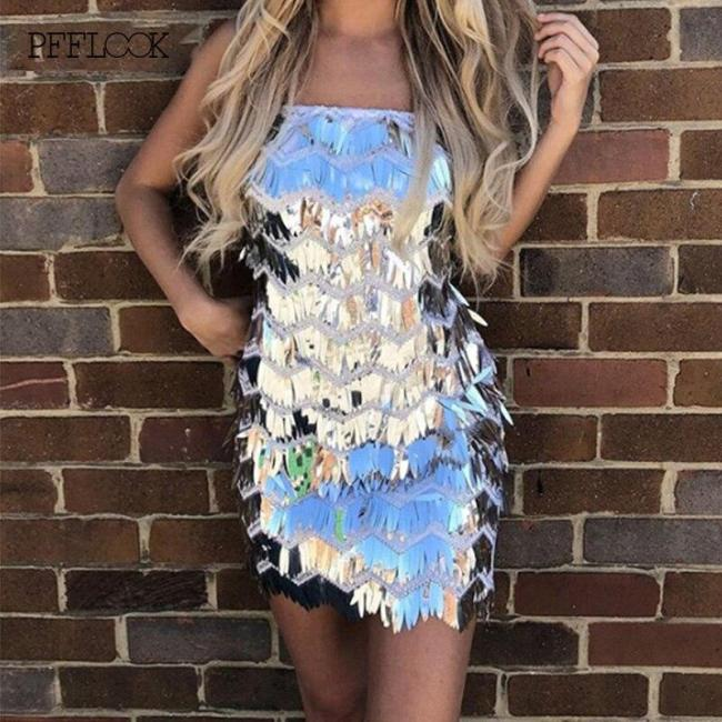 PFFLOOK Sequin Glitter Sexy Party Dresses Women Spaghetti Strap Backless Bodycon Mini Vestidos Sleeveless Christmas Evening Robe