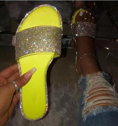 Women Shoes Casual Snake Skin Bright Diamond Flat Outdoor Wild Sandals New 2020 Summer Candy Color Home Flip Flop Beach Slippers