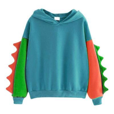 Hoodies Patchwork Winter Cute Harajuku Kawaii Sweatshirt Women Oversize Hooded Pullover dinosaur cos Tops Tracksuit sudadera new