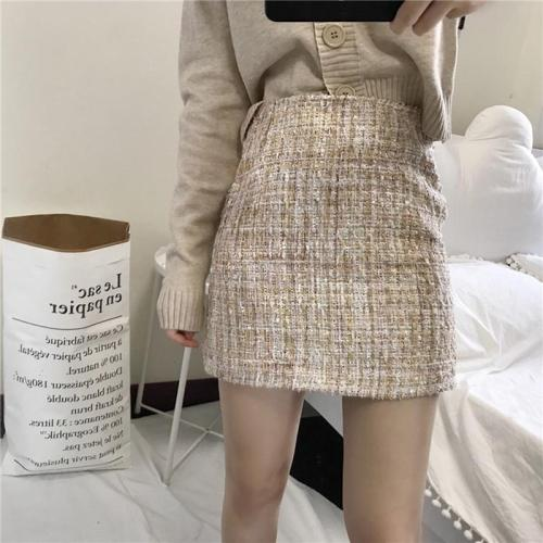 Apricot Winter Tweed Skirts Women Vintage Autumn Mini Pencil Skirt Wool Korean Bodycon High Waist Plaid Skirt Lady Slim Fit V924
