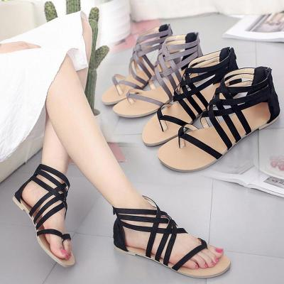 Summer flat shoes woman 2020 new fashion back zipper casual sandals female solid color cross-tied sandals women shoes plus size