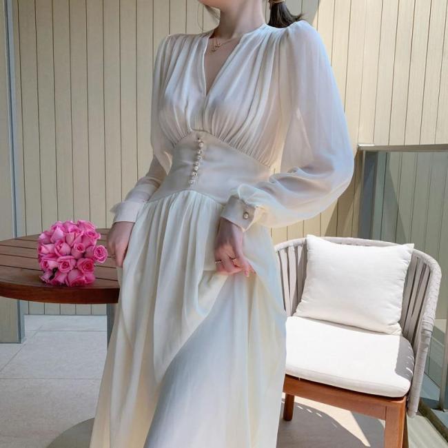 Pearls Buttons Spring Summer Dress Women V-Neck Lantern Sleeve Chiffon Dress A-line Long Midi Dress High Waist White Korean B363