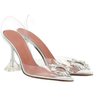 Sandals Women Pointed Clear Crystal Cup High Heel Stilettos Sexy Pumps Summer Shoes Peep Toe Women Pumps Size 43