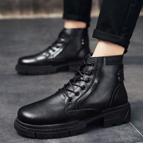 2020 New Winter Men's Boots Ankle Low Heel Business Boot Basic Dress Boots for Men Genuine Leather Solid Black