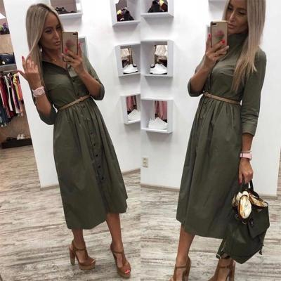 Women Casual Sashes a Line Party Dress Ladies Button Turn Down Collar OL Style Shirt Dress 2020 Summer Solid Knee Dress