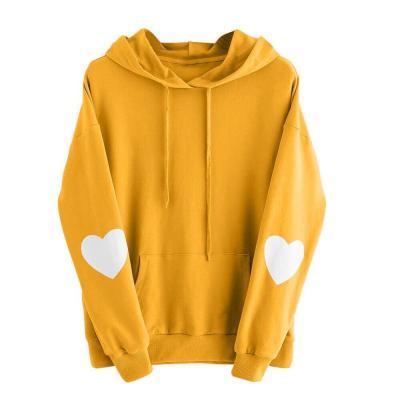 Womens Heart Print Long Sleeve Hoodie Autumn Winter Fashion Hooded Sweatshirt Warm Drawstring Jumper Pullover Tops Jogging #Y3