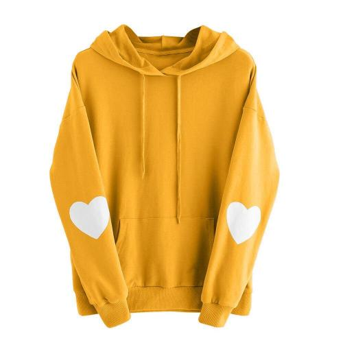 Womens Heart Print Long Sleeve Hoodie Autumn Winter Fashion Hooded Sweatshirt Warm Drawstring Jumper Pullover Tops Jogging #Y3