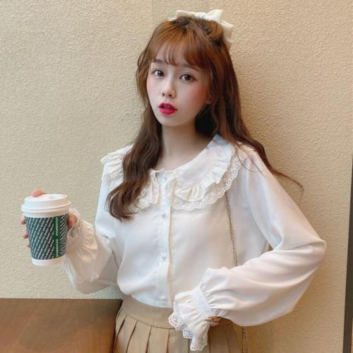 Korean Spring Autumn Sweet Lace Double Peter Pan Collar Flare Long Sleeve Shirts Blouses Women Blusas Fashion Streetwear 2020