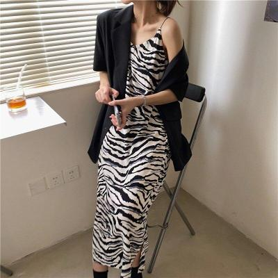 Autumn Summer Women Dresses French Casual Split Retro Zebra-Stripe Print Dress Office Lady Slim V-neck Strap Long Dress Vestido