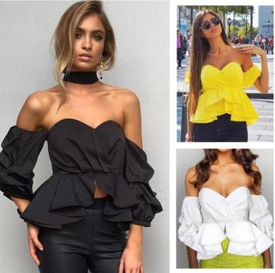 2020 Europe Style Women Blouse Shirt Ruffles Puff Sleeve Sexy Slash Neck blusa Tops Off Shoulder Women feminina blusas mujer