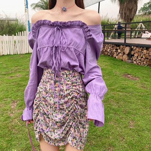 Chiffon ruffle floral skirt women casual mini skirt high waist beach boho chic skirt elegant office skirt female girl 2020