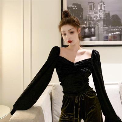 Autumn/winter Korean Short Long-sleeved New Light-ripe Velvet Women Slimaround Bottomed T-shirts Women Fashion Streetwear 2020