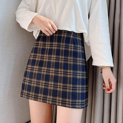 Vintage Plaid Wool Skirts Women Autumn Casual Mini Skirt Harajuku Korean Pencil Skirt Warp High Waist Plus Size Sexy A-Line W416