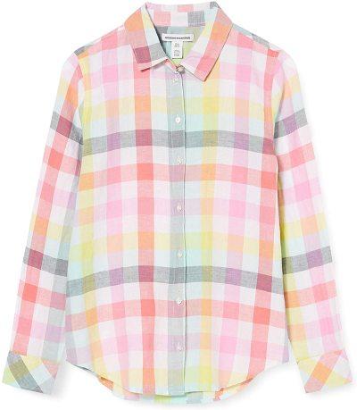 Essentials Women's Classic-Fit Long-Sleeve Linen Shirt