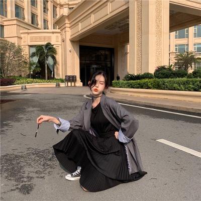 Chiffon Pleated Skirt Women Plus Size Ruffles Long Skirts Autumn High Elastic Waist Korean Vintage Harajuku Midi Skirts V811