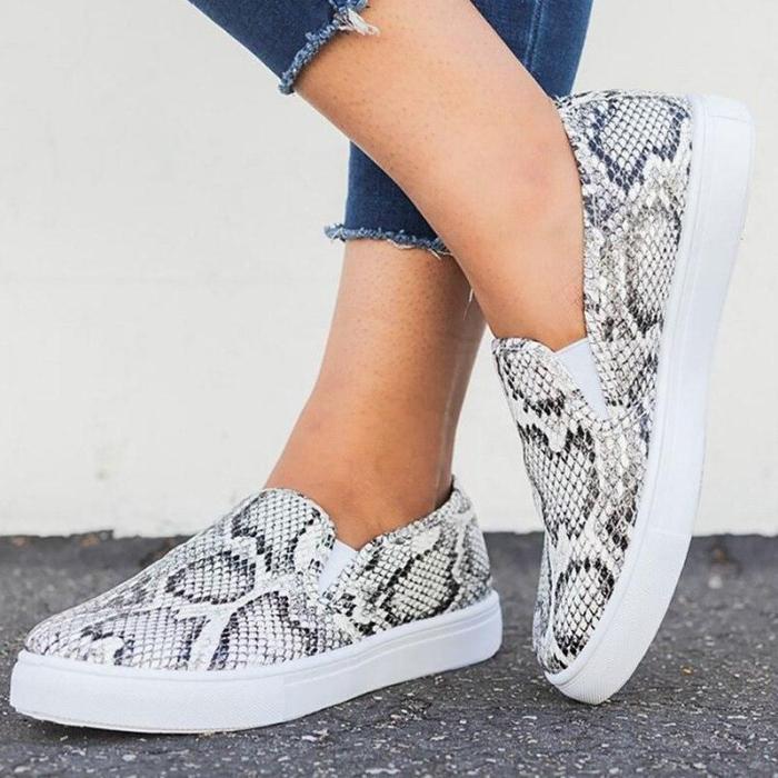 Women Flat Shoes Plus Size 43 Shallow Wear-resistant PU Leather Shoes Women Rubber Leopard Shoes Woman Loafers
