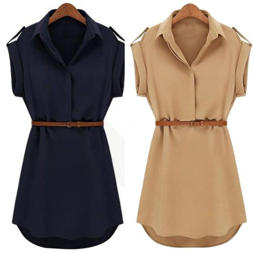 Women Casual Summer Shirt Dress Summer Dress 2020 Loose Short Sleeve Dress With Belt Turn Down Collar Autumn Dress Vestidos #20