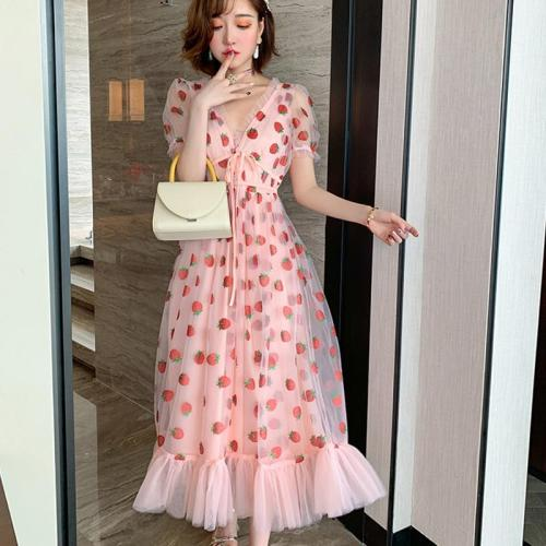 Summer Runway Hot Drill Strawberry Dress Women Sweet Long Flare Sleeve V-Neck Empire Lace-up Sheer Mesh Holiday Pink Lady Dress