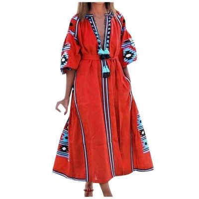 Women Bohemian dress A-Line Half sleeve print dresses Vintage Floral Printed Tassel Causal Mulitcolor patchwork loose dress 9.2