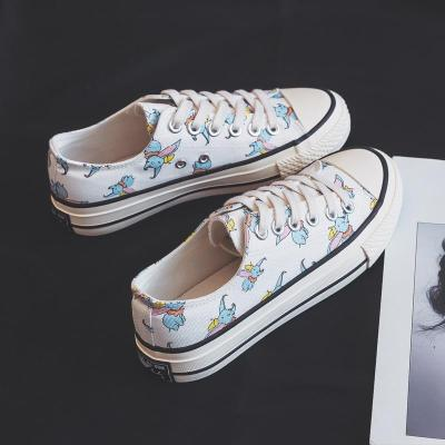 Spring 2020 New Women Canvas Shoes with Big Ears Small Flying Elephants Girls Sneakers Cartoon Animals High Top Trainers 35-40