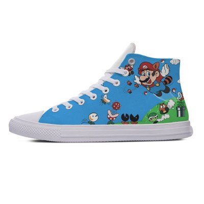 Man Mario Cartoon Game Hot Cool Fashion Casual Canvas Shoes Super  High Top Breathable Sneakers 3D Print for Men Women