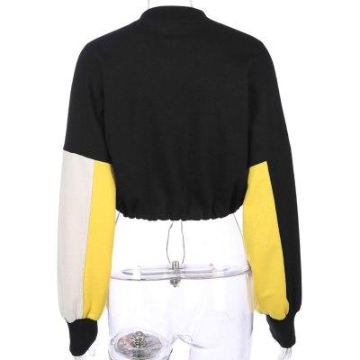Harajuku Casual Patchwork Thin Sweatshirt Autumn O-Neck Button Long Sleeve Pullover Women Short Navel Drawstring Tops Hip Hop#Y3