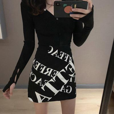 Letter Print Mini Skirts Autumn High Waist Pencil Skirt Beach Skinny Warp Skirts Design Korean Vintage Slim Fit Sexy Zipper V840