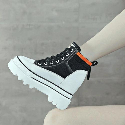 Casual White Wedges Shoes Women Increased Platform Sneakers 2020 New Autumn High-top Leisure Shoes for Women Sneakers A1-09